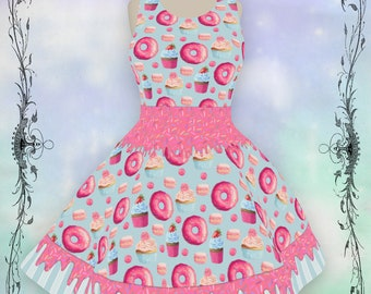 Melty Sweets Dresses in Pinks, kawaii Skater Dress in XS-5XL, kawaii dress, sweet lolita dress, sweet lolita JSK, donut lovers dress, kawaii