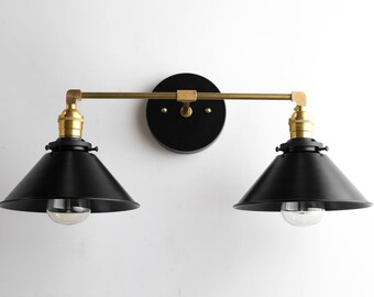 Black Brass Vanity Light - Bathroom Wall Lamp - Modern Fixture -  Mirror Lighting - Edison Bulb Fixture