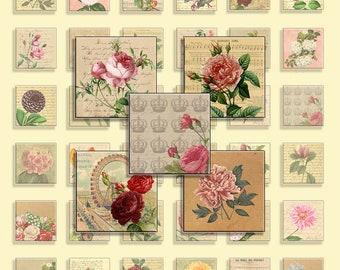 Instant Download - Digital Collage Sheet -  Vintage Flowers -  JPG&PNG format - Botanical illustrations - 48 designs - 1 inch(25 mm) squares
