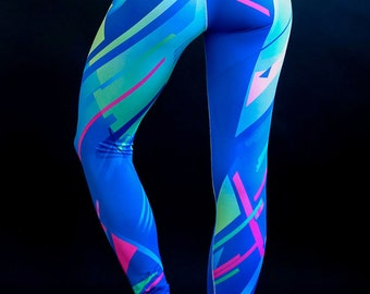 RETRO 90s neon blue yoga leggings * high waisted leggings * 1990's 1980's graphic * barre tights ** Made in USA by Leg Candy