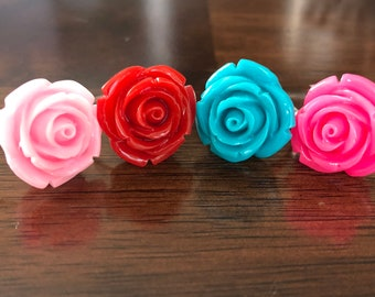 Rose Silver Nickel Free Adjustable Ring in Bright Colors
