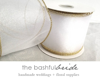 10 yards white and gold ribbon, sheer ribbon, shimmer ribbon, white sheer ribbon, pearl shimmer ribbon, gold ribbon, wedding ribbon, wedding