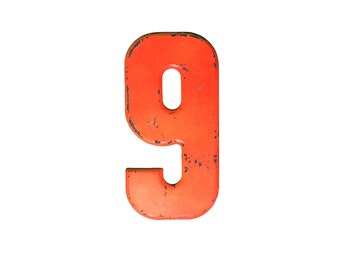 """7 1/2"""" Vintage Metal Number 9 Chipped Red/Orange - Marquee Signage - Number Sign - Birthday Kid's Party Decor Sports House Address Outdoor -"""