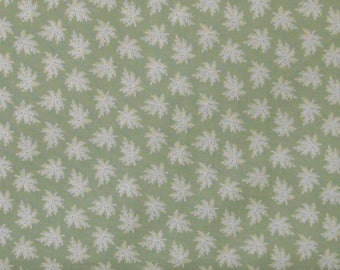 White and Ivory Small Floral Sprigs on Green Background 100% Cotton Quilt Fabric, Evelyn by Whistler Studios for Windham Fabrics, WIF41987-2