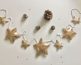 Glitter star Christmas garland