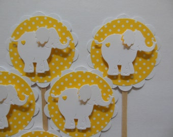 Elephant Cupcake Toppers - White and Yellow Polka Dots - Gender Neutral - Birthday Party Decorations - Baby Shower Decorations - Set of 6