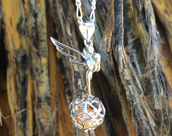 """925 Sterling Silver Fairy """"Shimmer"""" Pearl Cage Pendant"""