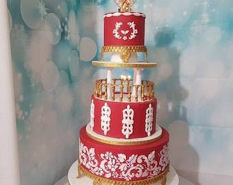 Golden chandelier cake