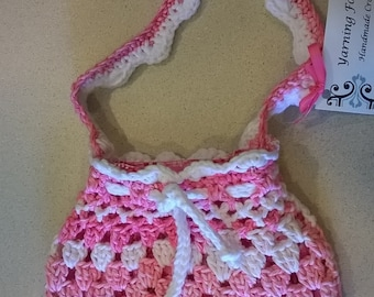 Beautiful Pink & White Crochet purse