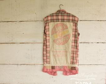 Flannel Sleeveless Shirt - Tunic - Size Sm - Med - Boho Clothing - Upcycled -  Pink Plaid Vintage Funks Seed Feed Sack Back Farm Girl Shirt