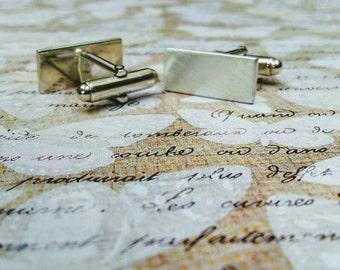 Sterling silver rectangular satin finish cufflinks