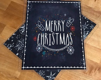 Front and Back Cover Set Merry Christmas Chalkboard Snowflake Holiday Winter for use with Erin Condren or Happy Planner