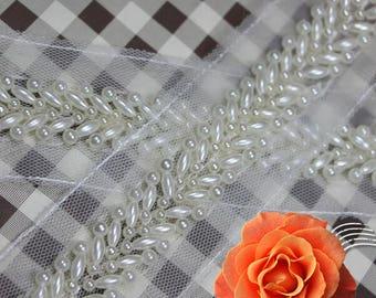 white pearl white gauze   Beading Lace Trim for wedding dress Bags Collars Pockets Headwears  - 90cm (3.5cm Width) YSFL15