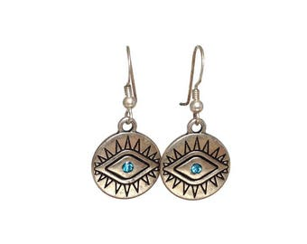 Evil eye earrings  - sterling silver french ear wire - Greek jewelry - protection - Good luck - ethnic jewelry - disc jewelry