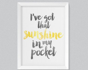 Sunshine In My Pocket - Lyric Watercolor Typography Digital Art Print