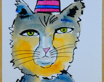 Cat Paintings - Cat Art - Cat Lovers - Whimsical Cats - Cat Illustration - Cat in the Hat - Blue Cat - Folk Art Cats - Watercolor Cats