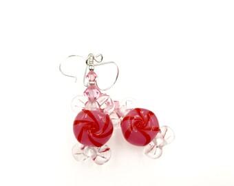Peppermint Earrings, Christmas Earrings, Lampwork Glass Bead Earrings, Red Pink Dangle Earrings, Lampwork Jewelry, Beaded Earrings
