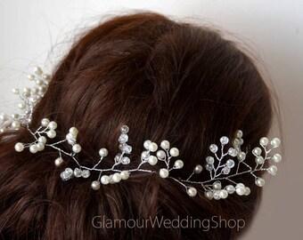 Sale - Wedding Headband Bridal Hair Jewelry Bridal Headband Wedding Headpiece Silver Hair Accessories Bridal Hair