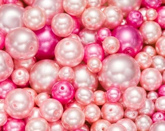 Pearl mix, 50g glass pearls, coated glass pearls, pearl bead mix, beading supplies, jewellery making, craft supplies