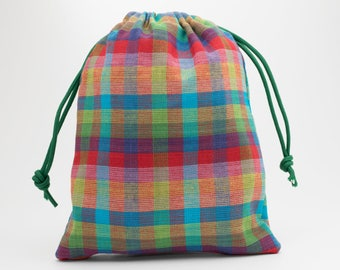 Rainbow Party Bags, Homespun Fabric, Birthday Party, Party Bags, Fabric Bags, Candy Bags, Treat Bags, Favor Bags, Goodie Bags