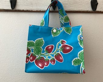 Beth's Blue Strawberry Oilcloth Lunch Box