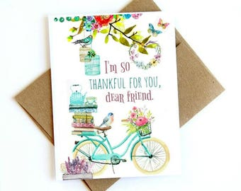 Watercolor bike with quote: I'm so thankful for you dear friend.