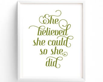 Olive GreenTypography Printable, She Believed She Could So She Did, Vintage Typography, Minimalist Decor, Wall Art