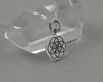 Sacred Geometry Necklace - sterling silver womens necklace, seed of life jewelry, geometric necklace