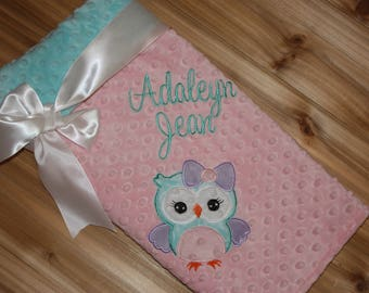 Owl - Personalized Minky Baby Blanket - Embroidered Owl