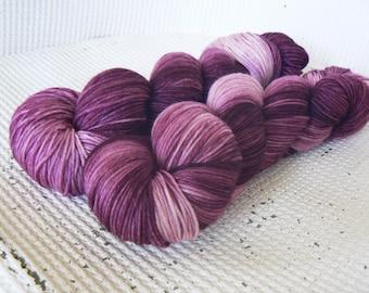 Rosebud - Hand Dyed Tonal Luxury Sock Yarn - Superwash Merino Cashmere Nylon 4 Ply - Pink Burgundy