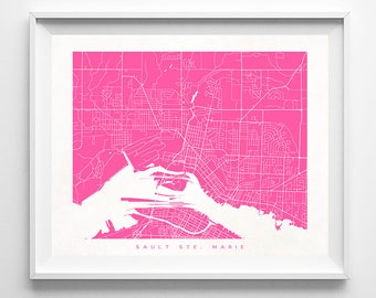 Sault Ste. Marie Map, Canada Print, Sault Ste. Marie Poster, Canada Art, Map Art, Illustration, Modern Home Decor, Mothers Day Gift