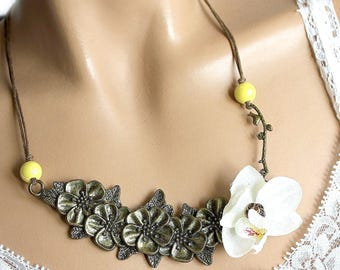 White Orchid and bronze flower branch jewelry