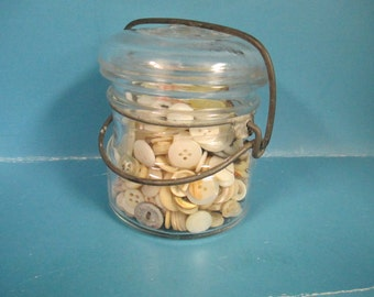 Ball Ideal Flip top lid Jar with Vintage mother of pearl and plastic dress buttons