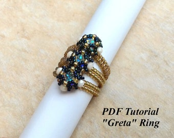 "Beaded Ring Tutorial, DIY Ring, Ring Pattern, Jewelry Tutorial, Bezel Ring, Ring Making, Tutorial Beading, Bead Tutorial, ""Greta"" Ring"