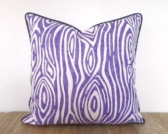 Light purple pillow cover 18x18 kids room decor, animal print pillow case, zebra sofa cushion lavender and gray, lilac throw pillow case
