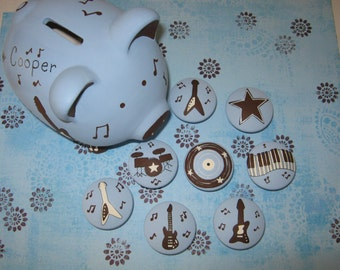 Set of 8 - ROCK N' ROLL Knobs + PiGGY BaNK - Guitars, Drums, Key Board, Music Notes - Hand Painted Wooden Knobs & Bank