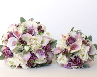 PURPLE WEDDING BOUQUET , Lavender Real Touch Wedding Bouquet , Artificial Real Touch Orchids,  Roses, Calla Lilies , Lambs Ear, Dusty Miller