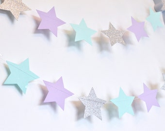 Mint Purple and Silver Twinkle Twinkle Little Star, Paper Garland, Birthday Party Decor, Nursery Decor