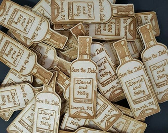 Wedding Favor, Wine Bottle  Save the Date Wedding Magnets,   - Bride, Groom, Gift, Save the Date, Rustic, Custom