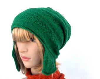 knit hat, knitted winter hat, green wool cap , women men earflap hat, knitting trapper hat, baggy hat, knit head dress, cap, slouchy hat