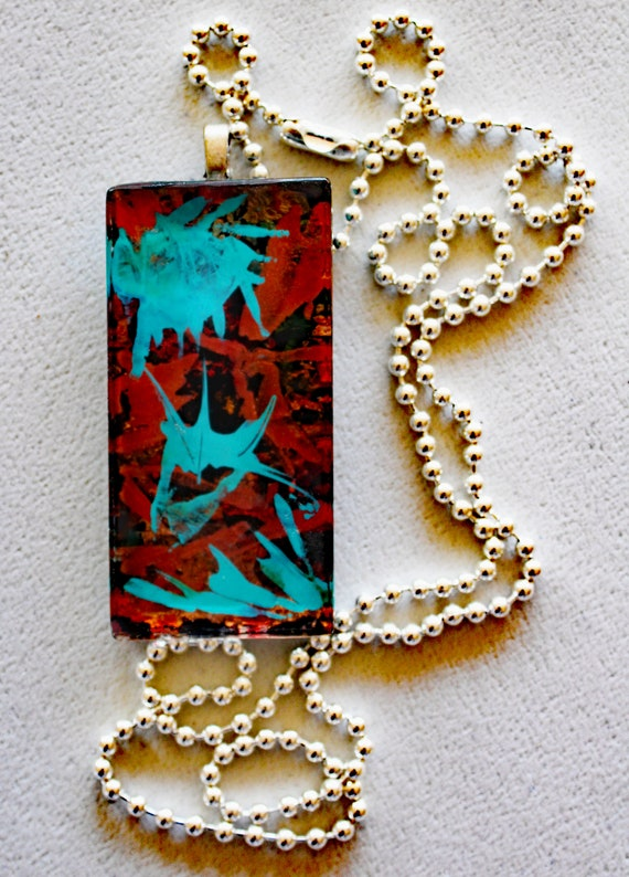 Abstract Painted Glass Pendant Made with Alcohol Ink in Turquoise and Red or Purple and Red on Gold Leaf