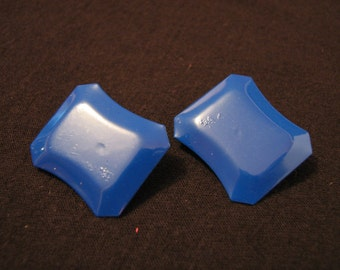 Vintage Navy Blue Square Clip Earrings