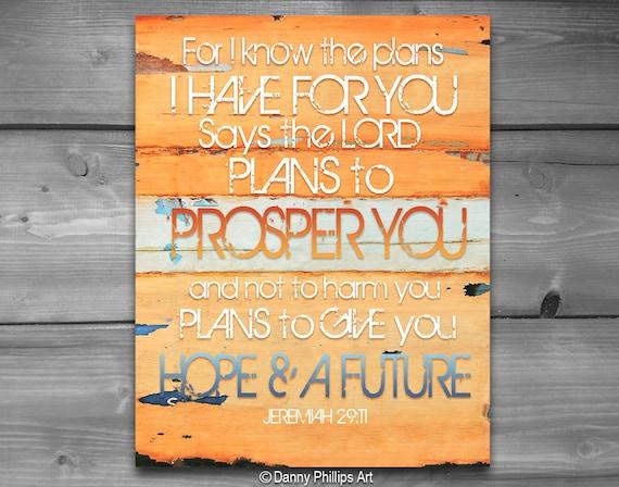 ART PRINTABLE, Jeremiah 29:11, Christian gift, Scripture print, quotable, wall decor, retro, digital download, hope, positive print, 8x10
