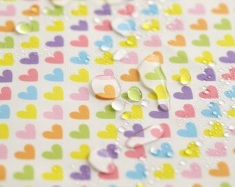 Rainbow Hearts Waterproof Fabric - 59 Inches Wide - By the Yard 96686