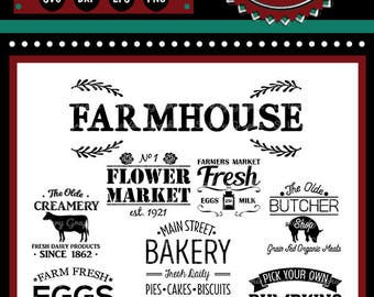 Vintage Farmhouse Bundle | 9 Cutting & Printable Files | svg | eps | png | dxf | Cutting Files | Bakery | Farmers Market |  Fresh Eggs