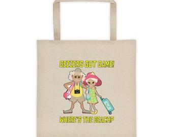 Geezers Got Game: Where's the Beach? Seniors Tote bag