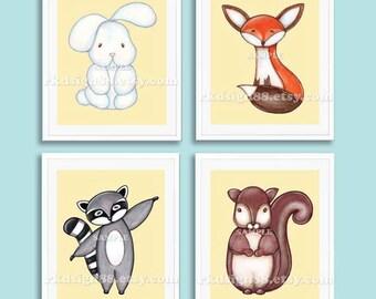 Nursery art print, baby nursery decor, kids wall art, children art, squirrel painting, raccoon art, bunny fox SET, 4 prints