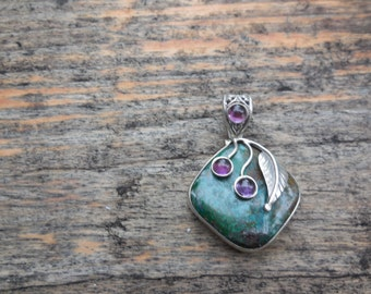 Sterling, Green and Amethyst Pendant