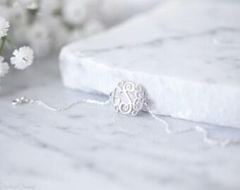 Dainty monogram bracelet/ monogram bracelet in sterling silver/ minimal monogram jewelry/ monogram bracelet/ bridesmaids gift