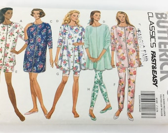 Butterick Sewing Pattern 6360 Misses Miss Petite Pajama and Nightshirt Size XS-L Cut